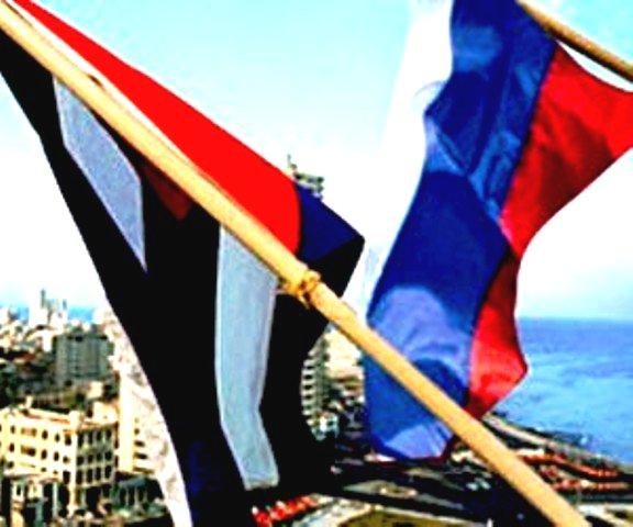 Banderas cubana y rusa