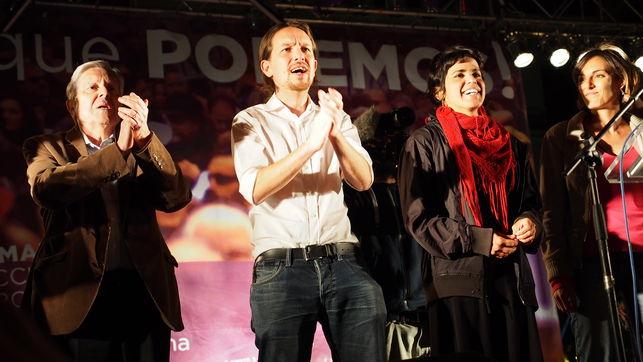 ¿Autenticidad u oportunismo? De izquierda a derecha: Jiménez Villarejo, Iglesias,  Rodríguez y Sánchez